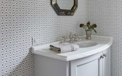 Cottage Powder Room With Wallpaper