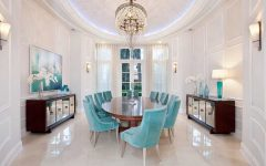 Cozy Dining Room With Classic Tiffany Blue Chairs With Crystal and Mirror Accents