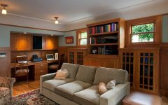 Craftsman Family Room With Desk