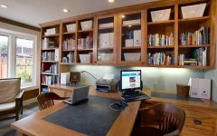 Craftsman Home Office With Open Shelving Storage