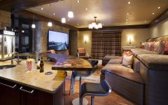 Craftsman Media Room With Wet Bar and Tiered Deep Cushion Theater Seating