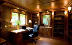 Craftsman Style Wood Ceiling and Custom Built in Cabinets for Home Office