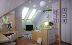 Cute and Fresh Attic Living Room Interior