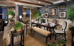 Deluxe Rustic Dining Room and Living Room in Open Space