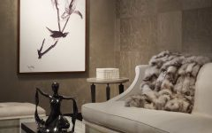 Elegance Living Room With Patterned Wallpaper and Fur Throw