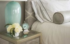 Elegant Coastal Bedroom With Mirrored Side Table