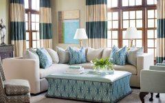 Elegant White and Turquoise Coastal Living Room