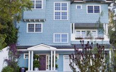 Exterior of Brentwood Home With Baby Blue Wood Siding