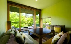 Fresh Japanese Living Room With Green Panoramic View