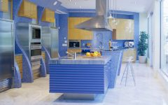 Futuristic Kitchen With Blue Theme Design Ideas