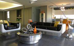 Futuristic Living Room With Black Leather Sofa