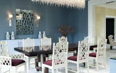 Glamorous Oriental Dining Room Featuring Crystal Chandelier