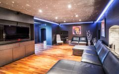 Glamour Modern Multimedia Room With Neon Lighting