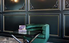 Gothic Sitting Space With Black Wall Panelling and Prism Coffee Table
