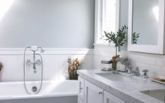 Gray Bathroom With White Wainscoting