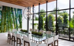Wooden Dining Table Designs with Glass Top