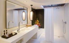Latest Contemporary Bathroom Shower with Elegant Curtain 2014