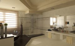 Latest Contemporary Bathroom for Large Interior