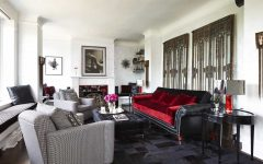 Leather and Velvet Sofa in Art Deco Living Room