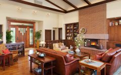 Leather Couches and Wooden Cabinets for Classic Living Room