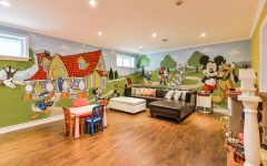 Living Room With Mickey Mouse Decorative Wall Theme
