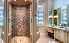Master Bathroom With Beauty Vanity and Glass Enclosed Shower Stall
