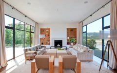 Minimalist Living Room With Wood Sofa and Bookshelves