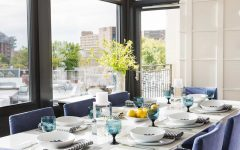 Modern Bold Blue Chairs for Stylish Art Deco Dining Room