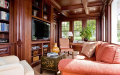 Modern Craftsman Living Room With Coral Couch and Coffered Wooden Ceiling