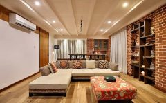 Modern Indian Living Room With Decorative Brick Wall