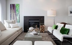 Modern Living Room With White Walls and Standard Fireplace