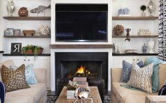 Neutral Coastal Living Room With Fireplace