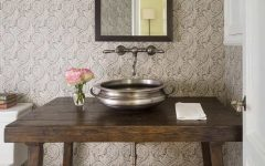 Neutral Cottage Powder Room With Pewter Sink