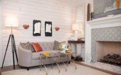 Neutral Wood Paneled Craftsman Sitting Room With Elegant Sofa