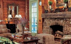 Old Style Living Room With Stone Fireplace