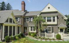 Rear Facade of Classic Colonial Home With Screened Porch