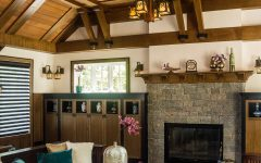 Rustic Asian Living Room With Wood Plank Ceiling