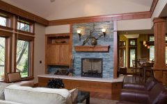 Simple Craftsman Living Room With Stone Fireplace