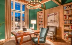 Sophisticated Emerald Green Home Office With Wood Accents