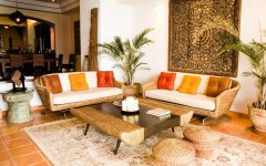 Traditional Indian Living Room With Oriental Rattan Chairs and Table
