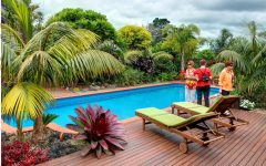 Tropical Plants in Modern Swimming Pool