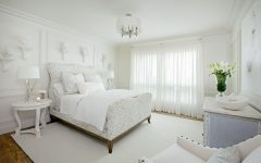 White Bedroom Interior With Floral Bed
