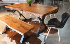 Acacia Dining Tables With Black X-Legs