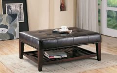 Brown Leather Ottoman Coffee Tables