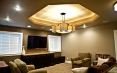 Amazing Basement Ceiling With Chandelier and Modern Lighting