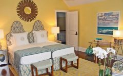 Beachy Yellow Bedroom With Adjacent Twin Beds