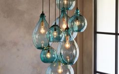 Turquoise Blown Glass Chandeliers