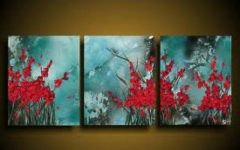 Red and Turquoise Wall Art