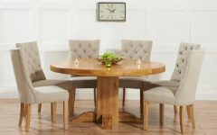 Round Extending Oak Dining Tables and Chairs