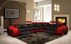 Red Black Sectional Sofas